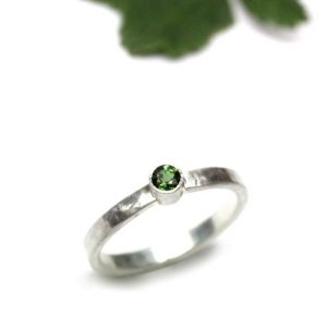 Lucky St. Patrick's Day Ring Dark Green Tourmaline Silver Delicate Four Leaf Clover Dot Hammered Band March Spring Design – L'il Pot Of Luck | Natural genuine Tourmaline rings, simple unique handcrafted gemstone rings. #rings #jewelry #shopping #gift #handmade #fashion #style #affiliate #ad