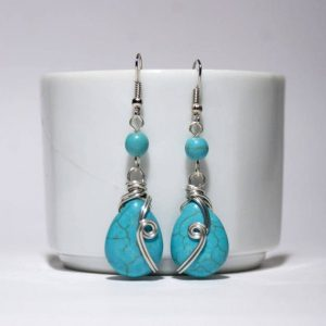 Turquoise dangle drop earring, turquoise jewelry, turquoise dangle earrings, wire wrapped jewelry handmade, stone turquoise earrings | Natural genuine Gemstone earrings. Buy crystal jewelry, handmade handcrafted artisan jewelry for women.  Unique handmade gift ideas. #jewelry #beadedearrings #beadedjewelry #gift #shopping #handmadejewelry #fashion #style #product #earrings #affiliate #ad