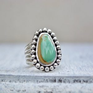 Shop Turquoise Rings! Turquoise Ring, Size 7.5, Kings Manassa Turquoise, Green Turquoise, 5 Band Ring, Split Ring, Summer Jewelry, Bold Ring, Statement Ring | Natural genuine Turquoise rings, simple unique handcrafted gemstone rings. #rings #jewelry #shopping #gift #handmade #fashion #style #affiliate #ad