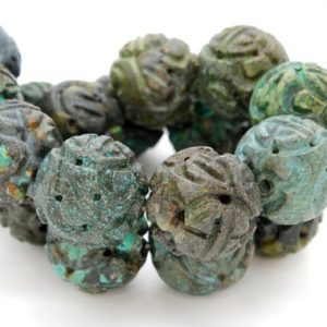 Shop Turquoise Round Beads! Natural Turquoise Round Antiqued Patterned Sphere Ball Loose Gemstone Beads – Full Strand | Natural genuine round Turquoise beads for beading and jewelry making.  #jewelry #beads #beadedjewelry #diyjewelry #jewelrymaking #beadstore #beading #affiliate #ad