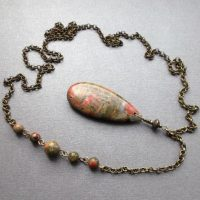 Pendant Necklace Jasper Unakite On A Chain. Pendant Natural Green-pink Stones. Idea Gift For Women For Girls For Mom. | Natural genuine Gemstone jewelry. Buy crystal jewelry, handmade handcrafted artisan jewelry for women.  Unique handmade gift ideas. #jewelry #beadedjewelry #beadedjewelry #gift #shopping #handmadejewelry #fashion #style #product #jewelry #affiliate #ad