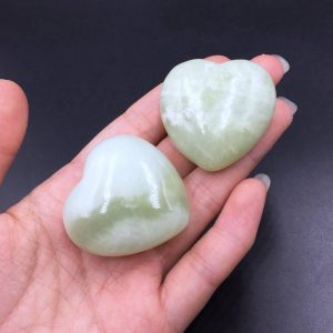 "1.6"" Green Serpentine Heart Jade Heart Natural Serpentine Crystal Heart Carving Hand Carved Gemstone Heart Healing Energy Crystal Gift CH 