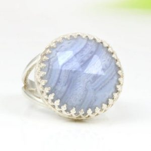 Shop Agate Rings! Stunning Blue Lace Agate Ring,Large Cocktail Ring,Sterling Silver Ring,Silver Gemstone Ring,Rings For Mom,Gifts For Mom | Natural genuine Agate rings, simple unique handcrafted gemstone rings. #rings #jewelry #shopping #gift #handmade #fashion #style #affiliate #ad