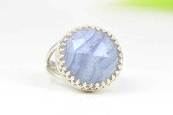Lace Agate Ring,silver Ring,double Band Ring,cocktail Ring,solitaire Ring,gemstone Ring,agate Stone Ring
