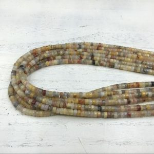 "Shop Agate Rondelle Beads! Crazy Agate Heishi Beads Rondelle Beads Tyre Spacer Beads 4x2mm Gemstone Rondelles Beading Jewelry Supplies 15.5""/Full Strand 