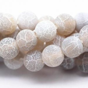 "Shop Agate Round Beads! Gray Fire Agate Cracked Matte Round Beads 4mm 6mm 8mm 10mm 12mm 15.5"" Strand 