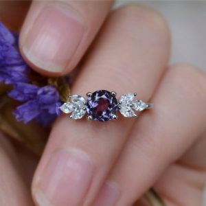 Shop Alexandrite Jewelry! Delicate Alexandrite Ring Alexandrite Engagement Ring Wedding Ring Anniversary Ring Promise Ring | Natural genuine Alexandrite jewelry. Buy handcrafted artisan wedding jewelry.  Unique handmade bridal jewelry gift ideas. #jewelry #beadedjewelry #gift #crystaljewelry #shopping #handmadejewelry #wedding #bridal #jewelry #affiliate #ad