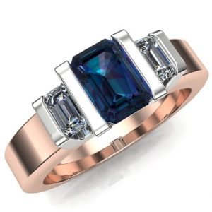 "Alexandrite Engagement Ring | Men's Or Women's Ring | 14k Gold Or Platinum With Diamonds, Emerald Cut | ""icon"" 
