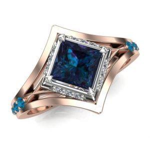 """Alexandrite Engagement Ring, Rose Gold or Platinum  