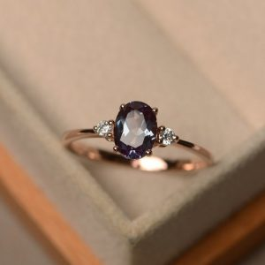 Shop Alexandrite Rings! Lab Alexandrite Ring, oval Cut, rose Gold Rings | Natural genuine Alexandrite rings, simple unique handcrafted gemstone rings. #rings #jewelry #shopping #gift #handmade #fashion #style #affiliate #ad