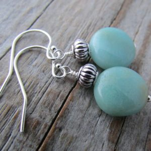 Shop Amazonite Earrings! Amazonite Earrings, Blue Gemstone, Dangle Earrings | Natural genuine Amazonite earrings. Buy crystal jewelry, handmade handcrafted artisan jewelry for women.  Unique handmade gift ideas. #jewelry #beadedearrings #beadedjewelry #gift #shopping #handmadejewelry #fashion #style #product #earrings #affiliate #ad