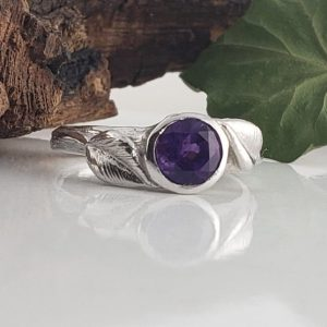 6.5mm Round Amethyst Engagement Ring – Leaf And Twig Engagement Ring – Promise Ring – Unique Engagement Ring – Gemstone Ring | Natural genuine Array rings, simple unique alternative gemstone engagement rings. #rings #jewelry #bridal #wedding #jewelryaccessories #engagementrings #weddingideas #affiliate #ad