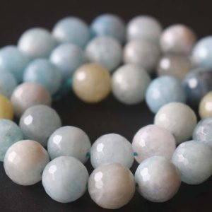 Shop Aquamarine Faceted Beads! Natural AA 128 Faceted Aquamarine Round Beads,6mm/8mm/10mm/12mm Gemstone Beads Supply,15 inches one starand | Natural genuine faceted Aquamarine beads for beading and jewelry making.  #jewelry #beads #beadedjewelry #diyjewelry #jewelrymaking #beadstore #beading #affiliate #ad