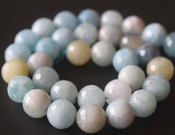 Natural Aa 128 Faceted Aquamarine Round Beads,6mm/8mm/10mm/12mm Gemstone Beads Supply,15 Inches One Starand