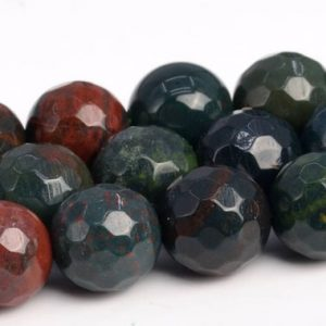 Shop Bloodstone Beads! Dark Green Blood Stone Beads Grade AAA Genuine Natural Gemstone Micro Faceted Round Loose Beads 6/8/10MM Bulk Lot Options | Natural genuine faceted Bloodstone beads for beading and jewelry making.  #jewelry #beads #beadedjewelry #diyjewelry #jewelrymaking #beadstore #beading #affiliate #ad