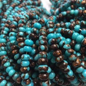 "Shop Turquoise Rondelle Beads! Bronzite Turquoise Smooth Rondelle Size 2x4mm 4x6mm 15.5"" Strand 