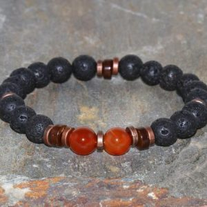 Shop Carnelian Bracelets! Volcanic Lava & A Grade Carnelian Bracelet, Mens Yoga Bracelet, Minimalist Root Chakra Wrist Mala Beads, Protection – Grounding – Strength | Natural genuine Carnelian bracelets. Buy handcrafted artisan men's jewelry, gifts for men.  Unique handmade mens fashion accessories. #jewelry #beadedbracelets #beadedjewelry #shopping #gift #handmadejewelry #bracelets #affiliate #ad