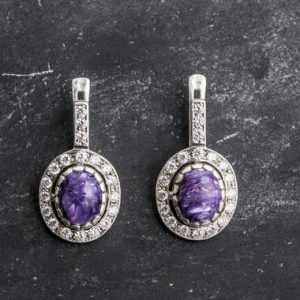 Shop Charoite Earrings! Unique Earrings, Charoite Earrings, Natural Charoite, Vintage Earrings, Scorpio Birthstone, Artistic Earrings, Silver Earrings, Charoite | Natural genuine Charoite earrings. Buy crystal jewelry, handmade handcrafted artisan jewelry for women.  Unique handmade gift ideas. #jewelry #beadedearrings #beadedjewelry #gift #shopping #handmadejewelry #fashion #style #product #earrings #affiliate #ad