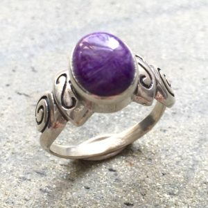 Charoite Ring, Natural Charoite, Purple Ring, Tribal Ring, Purple Vintage Ring, Scorpio Birthstone, Purple Stone Ring, Solid Silver Ring | Natural genuine Charoite rings, simple unique handcrafted gemstone rings. #rings #jewelry #shopping #gift #handmade #fashion #style #affiliate #ad