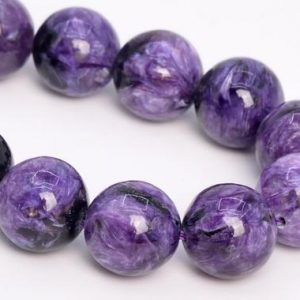 "Shop Charoite Beads! 12mm Dark Color Charoite Beads Russia Grade Aa Genuine Natural Gemstone Half Strand Round Loose Beads 7.5"" Bulk Lot Options (108977h-2837) 