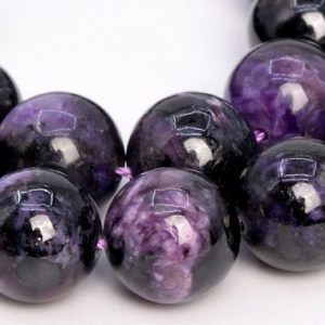 Shop Charoite Beads! 16 Pcs – 12mm Dark Color Charoite Beads Russia Grade A Genuine Natural Round Gemstone Loose Beads (108979) | Natural genuine beads Charoite beads for beading and jewelry making.  #jewelry #beads #beadedjewelry #diyjewelry #jewelrymaking #beadstore #beading #affiliate #ad