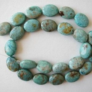 "16mm chrysocolla flat oval beads 16"" strand 1908 
