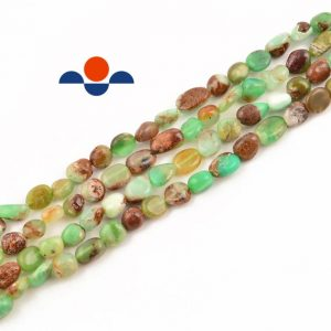 "Shop Chrysoprase Beads! Natural Chrysoprase Smooth Pebble Nugget Beads 5-8mm 15.5"" Strand 