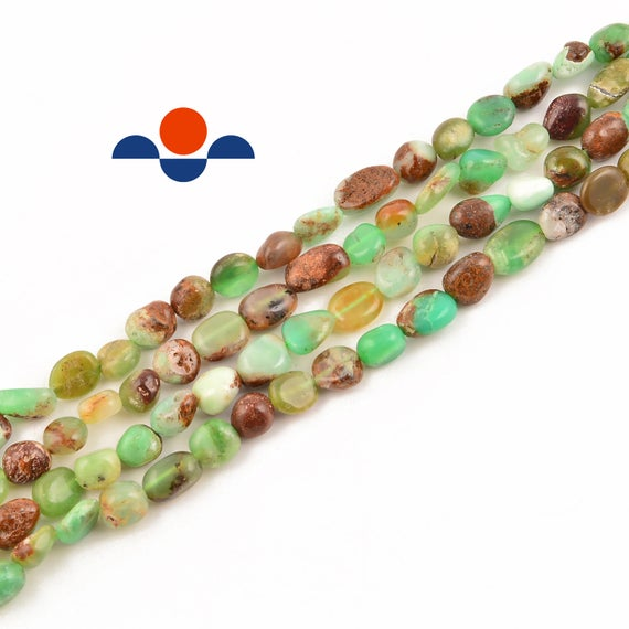 """Natural Chrysoprase Smooth Pebble Nugget Beads 5-8mm 15.5"""" Strand"""
