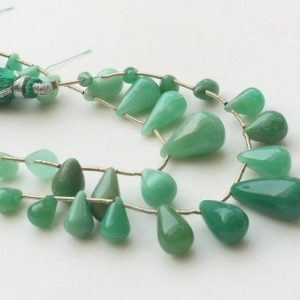 Shop Chrysoprase Bead Shapes! 4×4.5mm – 8x18mm Chrysoprase Plain Teardrop Beads, Green Chrysoprase Teardrop Briolettes, Chrysoprase For Necklace, 15 Pcs – KRS285 | Natural genuine other-shape Chrysoprase beads for beading and jewelry making.  #jewelry #beads #beadedjewelry #diyjewelry #jewelrymaking #beadstore #beading #affiliate #ad