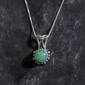 Shop Chrysoprase Pendants! Chrysoprase Pendant, Chrysoprase, Natural Chrysoprase, Australian Chrysoprase, Vintage Charm, May Birthstone, Real Chrysoprase, Solid Silver | Natural genuine Chrysoprase pendants. Buy crystal jewelry, handmade handcrafted artisan jewelry for women.  Unique handmade gift ideas. #jewelry #beadedpendants #beadedjewelry #gift #shopping #handmadejewelry #fashion #style #product #pendants #affiliate #ad