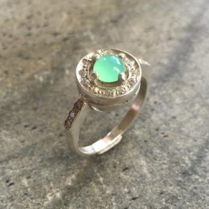 Chrysoprase Ring, Chrysoprase, Australian Chrysoprase, Promise Ring, May Birthstone, Vintage Ring, May Ring, Solid Silver Ring, Pure Silver | Natural genuine Chrysoprase rings, simple unique handcrafted gemstone rings. #rings #jewelry #shopping #gift #handmade #fashion #style #affiliate #ad