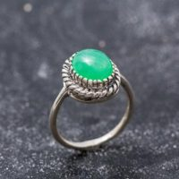 Chrysoprase Ring, Natural Chrysoprase, Large Chrysoprase, Vintage Rings, Vintage Green Ring, Vintage Silver Ring, Chrysoprase, Artistic Ring | Natural genuine Gemstone jewelry. Buy crystal jewelry, handmade handcrafted artisan jewelry for women.  Unique handmade gift ideas. #jewelry #beadedjewelry #beadedjewelry #gift #shopping #handmadejewelry #fashion #style #product #jewelry #affiliate #ad