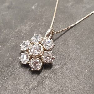 Shop Diamond Pendants! Flower Pendant, Diamond Pendant, Created Diamond, Sparkly Pendant, Vintage Pendant, Floral Pendant, Clear Diamond Pendant, Silver Pendant | Natural genuine Diamond pendants. Buy crystal jewelry, handmade handcrafted artisan jewelry for women.  Unique handmade gift ideas. #jewelry #beadedpendants #beadedjewelry #gift #shopping #handmadejewelry #fashion #style #product #pendants #affiliate #ad