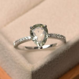 Natural Green Amethyst Ring, Pear Cut Green Gemstone, Sterling Silver, Engagement Ring For Women | Natural genuine Gemstone rings, simple unique alternative gemstone engagement rings. #rings #jewelry #bridal #wedding #jewelryaccessories #engagementrings #weddingideas #affiliate #ad