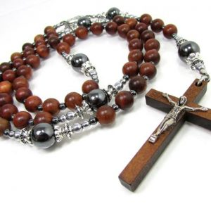 Shop Hematite Necklaces! Wood and Hematite Rosary Necklace with Wooden Cross, Unisex Mens Women Rosary, Cross Necklace for Men or Women, Wooden Beaded Cross Necklace | Natural genuine Hematite necklaces. Buy handcrafted artisan men's jewelry, gifts for men.  Unique handmade mens fashion accessories. #jewelry #beadednecklaces #beadedjewelry #shopping #gift #handmadejewelry #necklaces #affiliate #ad