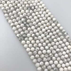 """Shop Howlite Faceted Beads! Natural Howlite Faceted Round Size 4mm Approx 15.5"""" Strand 