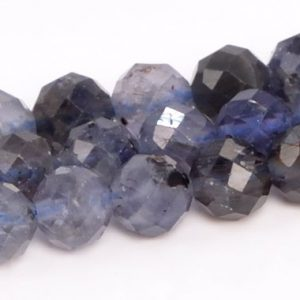 """Shop Iolite Faceted Beads! 5MM Deep Color Iolite Beads Grade A Genuine Natural Gemstone Faceted Round Loose Beads 15"""" / 7.5"""" Bulk Lot Options (109058) 