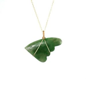 Wing necklace – jade necklace – jade leaf necklace – angel wing -a genuine jade wing wire wrapped onto a 14k gold vermeil chain | Natural genuine Jade necklaces. Buy crystal jewelry, handmade handcrafted artisan jewelry for women.  Unique handmade gift ideas. #jewelry #beadednecklaces #beadedjewelry #gift #shopping #handmadejewelry #fashion #style #product #necklaces #affiliate #ad