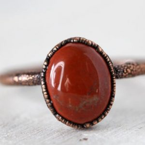 Red Jasper Ring – Small Stone Ring – Simple Stone Stacking Ring | Natural genuine Jasper rings, simple unique handcrafted gemstone rings. #rings #jewelry #shopping #gift #handmade #fashion #style #affiliate #ad