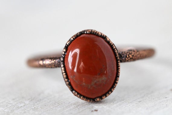 Red Jasper Ring - Small Stone Ring - Simple Stone Stacking Ring