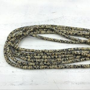 "Shop Jasper Rondelle Beads! Dalmatian Jasper Heishi Beads Rondelle Beads Tyre Spacer Beads 4x2mm Natural Gemstone Rondelles Beading Jewelry Supplies 15.5""/Full Strand 