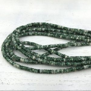 "Shop Jasper Rondelle Beads! Green Spot Stone Jasper Heishi Beads 4x2mm Rondelle Tyre Spacer Beads Green Gemstone Beads Beading Supplies 15.5""/Full Strand 