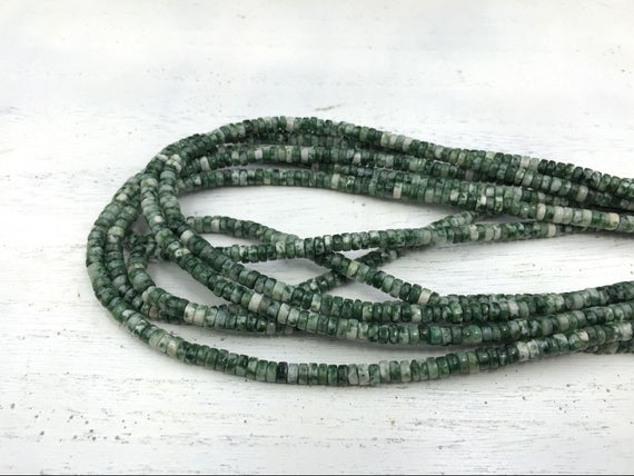 "Green Spot Stone Jasper Heishi Beads 4x2mm Rondelle Tyre Spacer Beads Green Gemstone Beads Beading Supplies 15.5""/full Strand"