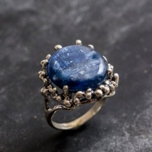 Shop Kyanite Rings! Artistic Blue Ring, Kyanite Ring, Natural Kyanite, Vintage Blue Rings, Large Stone Ring, Blue Ring, Solid Silver Ring, Genuine Kyanite | Natural genuine Kyanite rings, simple unique handcrafted gemstone rings. #rings #jewelry #shopping #gift #handmade #fashion #style #affiliate #ad