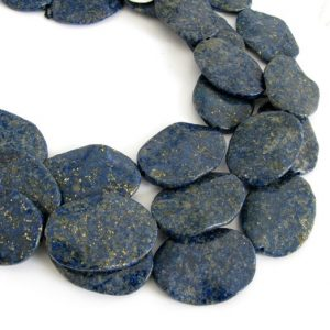 Shop Lapis Lazuli Bead Shapes! 30mm Lapis Beads, 30mm Wavy Oval Beads, Genuine Lapis Beads, Lapis Focal Beads, Lapis Lazuli, Lapis Oval Beads Full Strand, Lap203 | Natural genuine other-shape Lapis Lazuli beads for beading and jewelry making.  #jewelry #beads #beadedjewelry #diyjewelry #jewelrymaking #beadstore #beading #affiliate #ad