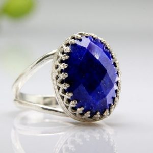 Lapis Ring, silver Ring, oval Ring, silver Gemstone Ring, birthday Ring, spring Jewelry, custom Rings | Natural genuine Lapis Lazuli rings, simple unique handcrafted gemstone rings. #rings #jewelry #shopping #gift #handmade #fashion #style #affiliate #ad