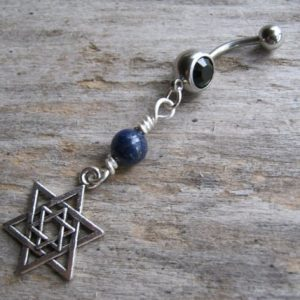 Shop Lapis Lazuli Stones & Crystals! Star of David Belly Button Ring, Lapis Lazuli Piercing, Antiqued SILVER Body Jewelry,  Birthstone Navel Piercing, Israel Jewish Navel Ring | Natural genuine stones & crystals in various shapes & sizes. Buy raw cut, tumbled, or polished gemstones for making jewelry or crystal healing energy vibration raising reiki stones. #crystals #gemstones #crystalhealing #crystalsandgemstones #energyhealing #affiliate #ad