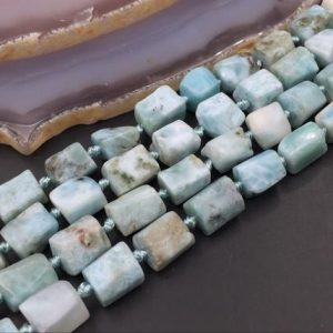 "Shop Larimar Chip & Nugget Beads! Faceted Larimar Beads Nuggets Larimar Cube Beads Larimar Gemstone Beads Tiny Nugget Beads Supplies 15.5"" Full Strand 