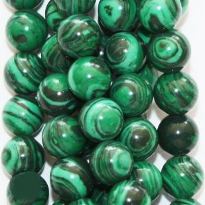 "Shop Malachite Round Beads! Malachite Beads – Round 6 mm Gemstone Beads – Full Strand 15 1/2"", 67 beads – Reconstituted 