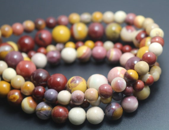 Mookaite Beads, 6mm / 8mm / 10mm / 12mm Smooth And Round Stone Beads, 15 Inches One Starand
